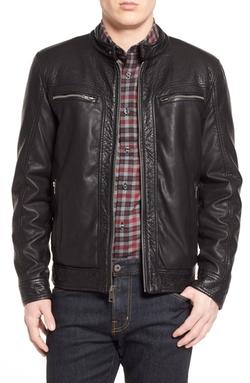 Black Rivet - Water Resistant Faux Leather Moto Jacket