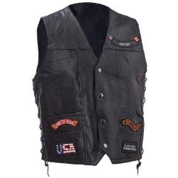 Lewis N. Clark - Leather Vest With 11 Patches