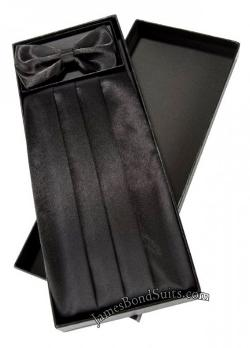 Jbsuits - Black Satin Mens Cummerbund and Bow Tie Set