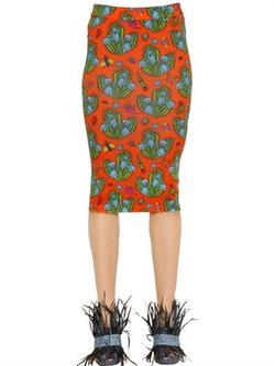 House Of Holland  - Cactus Printed Cotton Jersey Tube Skirt