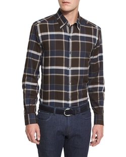 Ermenegildo Zegna - Plaid Long-Sleeve Sport Shirt