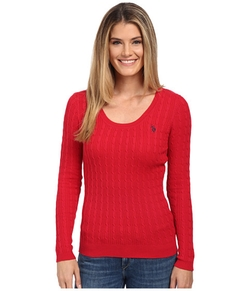 U.S. Polo Assn.  - Solid Cable Knit Scoop Neck Pullover