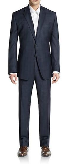 Saks Fifth Avenue Made In Italy  - Slim-Fit Tonal Windowpane Wool Suit