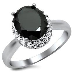 Front Jewelers  - Oval Black and White Diamond Ring