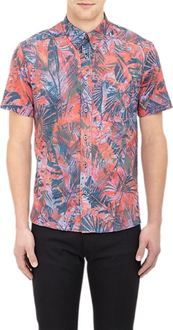 Ps Paul Smith - Tropcical Plant-Print Short-Sleeve Shirt