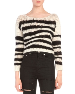 Saint Laurent - Wavy Striped Chain Knit Sweater
