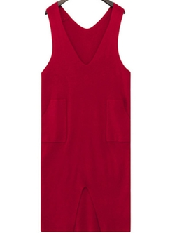 Romwe - V Neck Slit Front Pockets Red Dress