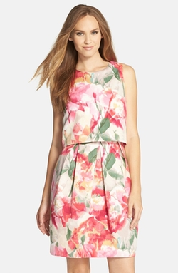 Eliza J - Floral Popover Sleeveless Sheath Dress