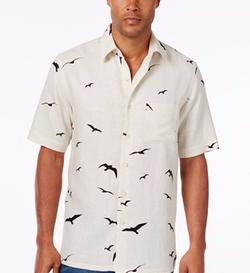 Tasso Elba - Bird-Print Short-Sleeve Shirt