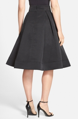 Eliza J - Pleated Faille Midi Skirt