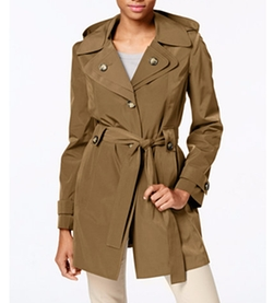London Fog - Hooded Water-Resistant Trench Coat
