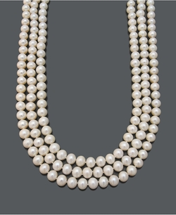 Belle de Mer  - Cultured Freshwater Pearl Necklace With Three-Row Strand