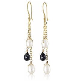 Amazon Collection  - Cultured Pearl and Onyx Teardrop Earrings