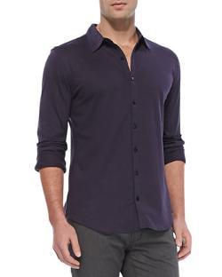 STAR USA  - Knit Button-Down Shirt