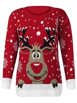 Forever - Rudolph Reindeer Print Snowflake Christmas Jumper
