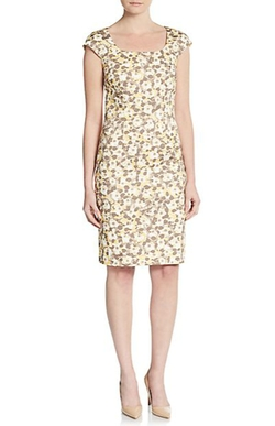 Peserico - Floral-Print Cap Sleeve Sheath Dress