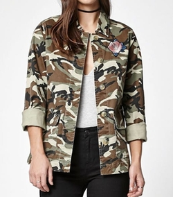 PacSun  - Embroidered Camo Military Jacket