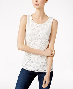Charter Club - Sleeveless Lace Top