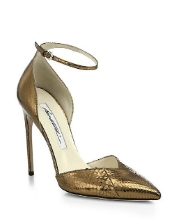 Brian Atwood  - Lisette Ayers Metallic Snakeskin Pumps