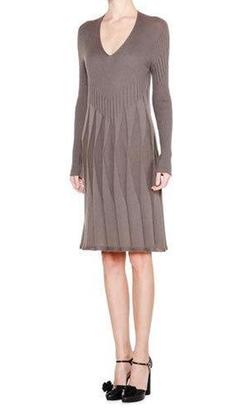 Giorgio Armani - Long-Sleeve V-Neck Pleated Dress
