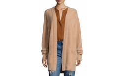 Vince - Boiled Cashmere Open-Front Long-Line Cardigan