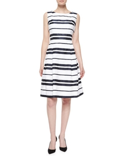 Carmen Marc Valvo - Sleeveless Striped Pleated-Skirt Dress