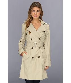 Cole Haan - Cole Haan Double Breasted Trench Coat Classic Fit Faux-Horn Buttons & Buckles