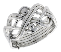 Sabrina Silver - Sterling Silver 6-Piece Puzzle Ring Wire Wrapped with Beads