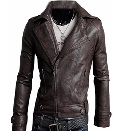 Xiaokong - Lapel Faux Leather Jacket