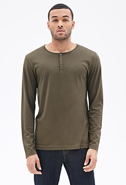 Forever 21 - Cotton-Blend Henley Shirt