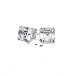 Bling Jewelry - Square Asscher Cut Stud Earrings