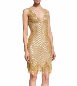 Naeem Khan - Sleeveless V-Neck Beaded Fringe Dress