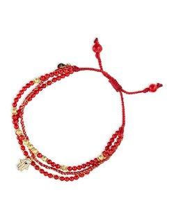 Tai  - 3-Strand Red Beaded Bracelet with Hamsa Charm