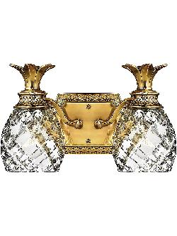 Plantation - Double Bath Sconce With Clear Optic Glass