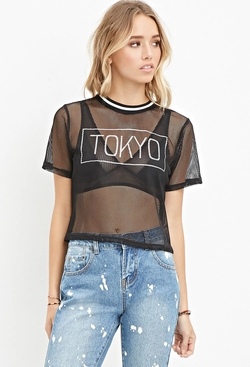 Forever21 - Tokyo Graphic Mesh Top