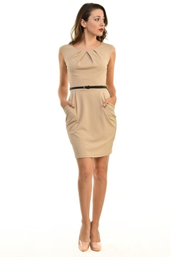 Auliné Collection - Office Workwear Sleeveless Sheath Dress