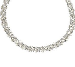 Honora Cultured Pearl   - Sterling Woven Necklace