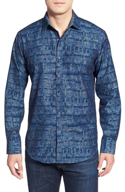 Bugatchi - Shaped Fit Print Sport Shirt
