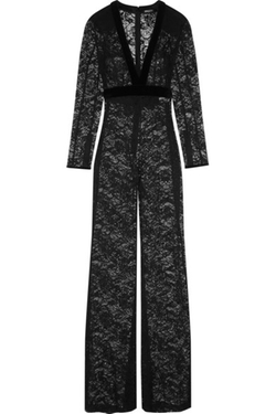Balmain - Velvet-Trimmed Stretch-Cotton Lace Jumpsuit