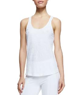 Donna Karan   - Puckered Cotton Blend Tank