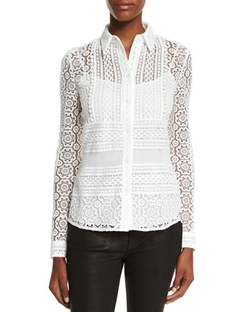 Burberry Prorsum	  - Multi-Lace Button-Front Blouse