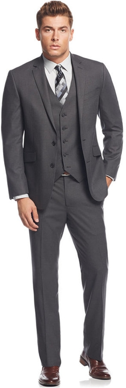 Kenneth Cole Reaction - Tonal Shadow Check Slim-Fit Vested Suit