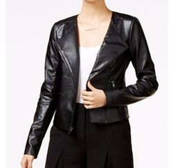 Guess - Cropped Faux-Leather Moto Jacket