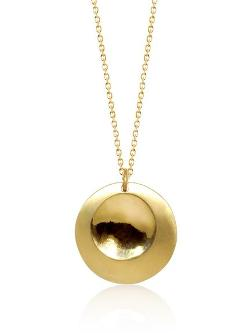 "Alex Woo  - ""Lucia"" Yellow Gold Disc Pendant Necklace"