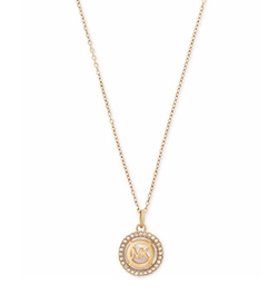 Michael Kors - Logo Mother-Of-Pearl Pavé Disc Pendant Necklace