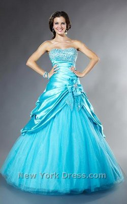 Tiffany Presentation - Strapless Ball Gown with Tulle Skirt and Satin Overlay