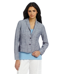 Eileen Fisher - Railroad Stripe-Print Notch Collar Short Jacket