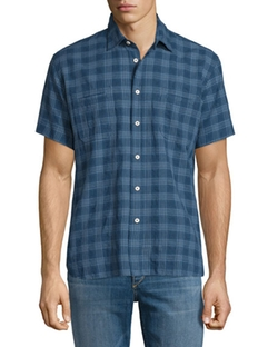 Billy Reid - Plaid Short-Sleeve Linen-Blend Shirt
