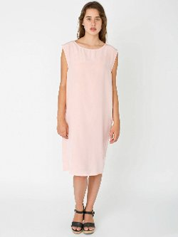 American Apparel - Washed Silk Mid Length Shift Dress
