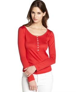 Piana - Knit Partial Button Front Top
